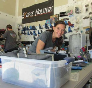 Jess Hazelaar hard at work in her shop. Note the fan—molding Kydex can be hot work.