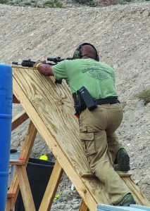 The most physical challenge at SFWC was this wall, a common sight at many three-gun matches.