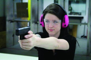 Brittany Caton is an exceptional trainer and also a fine shot. The handgun is the Glock 43 9mm.