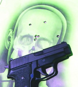 The small group with the SIG P228 was fired at 7 yards and the larger group at 15 yards. This type of accuracy is not possible with the .380 ACP and most sub-compact pistols.