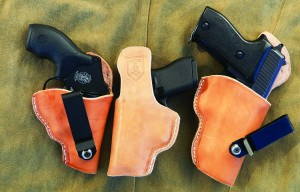 Cover 6 IWB holsters for the snub nose .38, Glock .380 and the SIG P 225 9mm. The SIG is by far the preferred choice.
