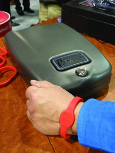 Hornady's portable security case for handguns is opened by RFID in either a bracelet or a sticker to be affixed to some-thing solid. It comes with a stout cable to secure it to structural elements in a home or vehicle.