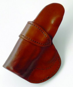 Note excellent stitching, reinforced welt (holster mouth) and sweat guard of the Wright Leather Works holster.