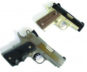 Kimber .380 compared to Colt 3-inch barrel 1911—the Kimber is LOTS smaller.