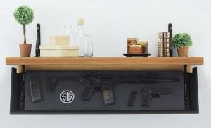 Tactical Walls offers a stylist option for hiding firearms (above). Note the Tactical Walls hidden shelf (below).