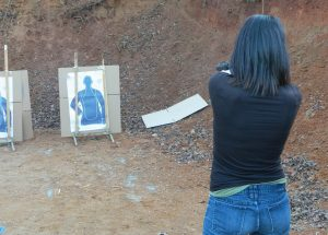 Begin firing at close range. The range illustrated is the distance at which most gunfights occur. Gunhandling is as important as marksmanship.