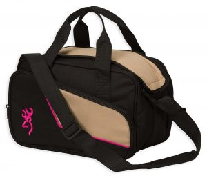 Browning's extensive line of range bags includes The Cimmaron II 2-pistol range bag with fuchsia trim an logo