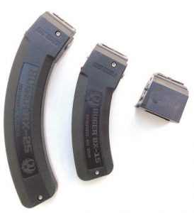 The Ruger may be used with fac-tory Ruger 10-,15- and 25-round magazines